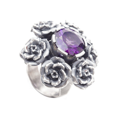 Rock 'n' Rose Large Heavy Amethyst Silver Stone Set Ring
