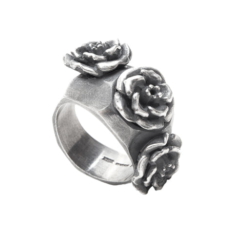 Rock 'n' Rose Heavy Silver Triple Rose Ring