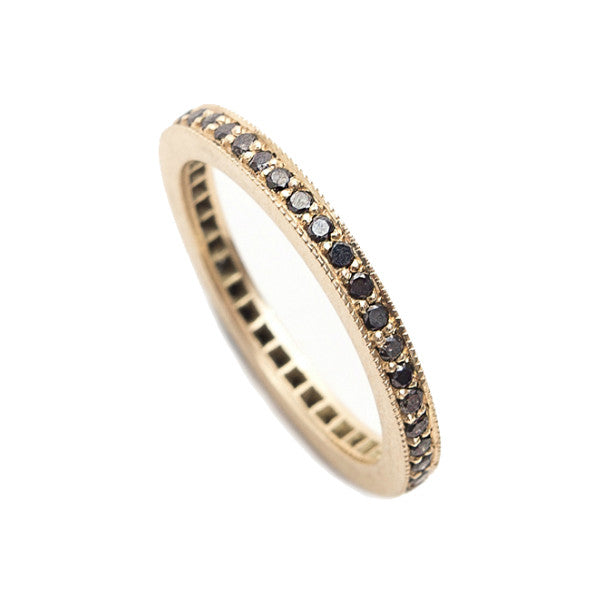 Square Edge Black Diamond Eternity Ring in 18ct Yellow Gold