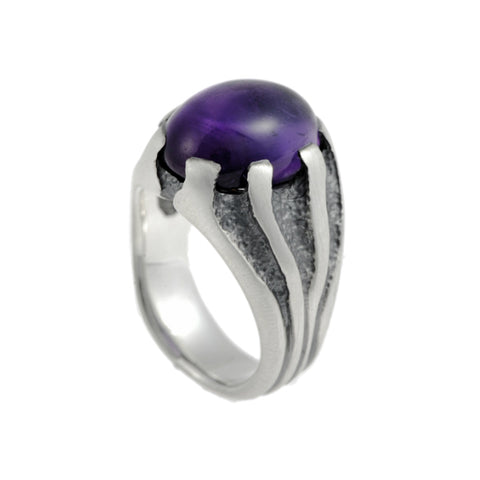 Libertine Silver Heavy Stone Set Amethyst Ring