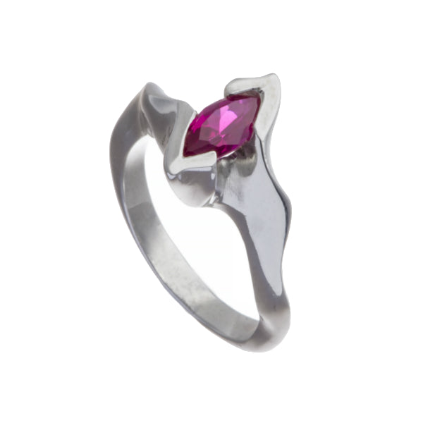 Electra Silver Ring with Marquise Synthetic Ruby