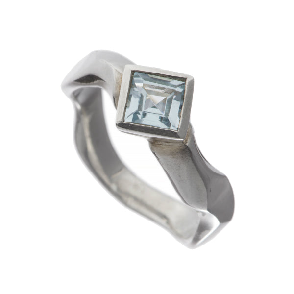 Carved Silver Ring with Medium Square Sky Blue Topaz