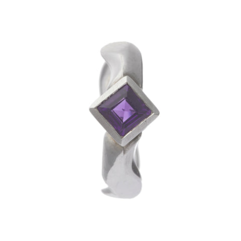 Carved Silver Ring with Medium Square Amethyst
