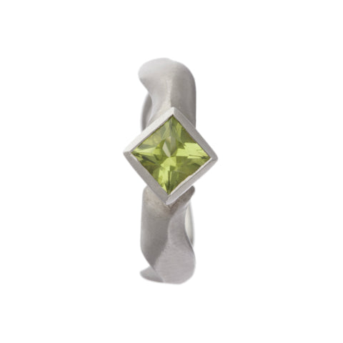 Carved Silver Ring with Medium Square Peridot