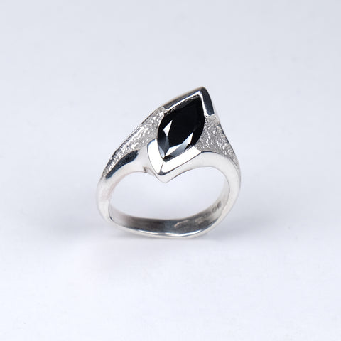 Libertine Silver Ring with Marquise Black Cubic Zirconia