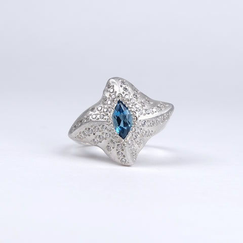 Manta Ray Silver Ring with London Blue Topaz