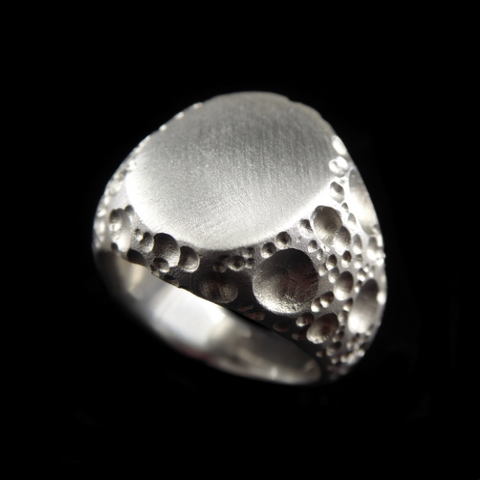 Moon Silver Signet Ring