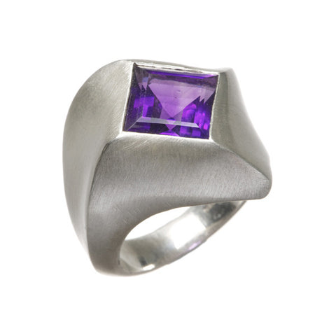 Abstract Heavy Silver Ring with Square Amethyst
