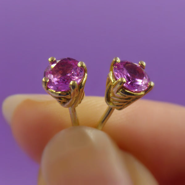 Entwine 18ct Yellow Gold 1 Carat Pink Sapphire Studs