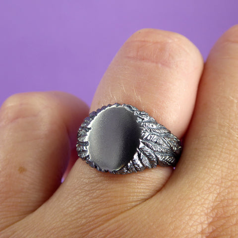 Feather Silver Signet Ring