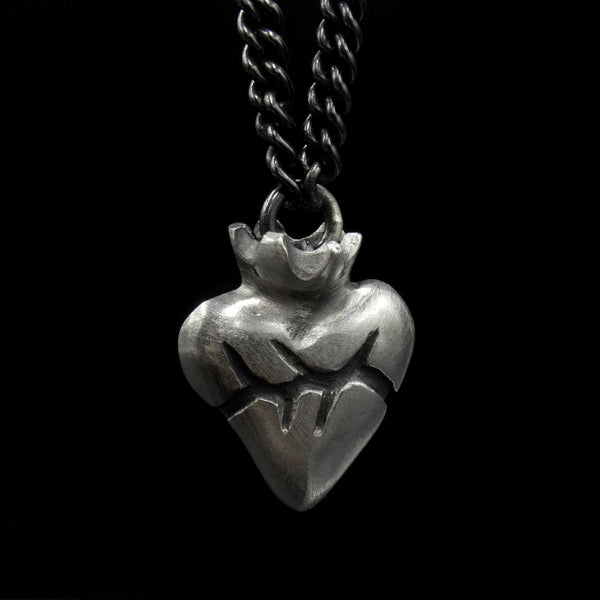 Small Silver Sacred Heart Necklace