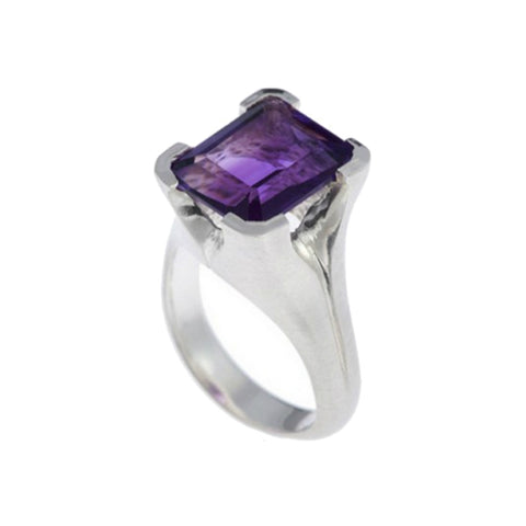 Kaleidoscope Silver Ring With Emerald Cut Amethyst