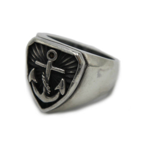 Anchor Shield Silver Signet Ring