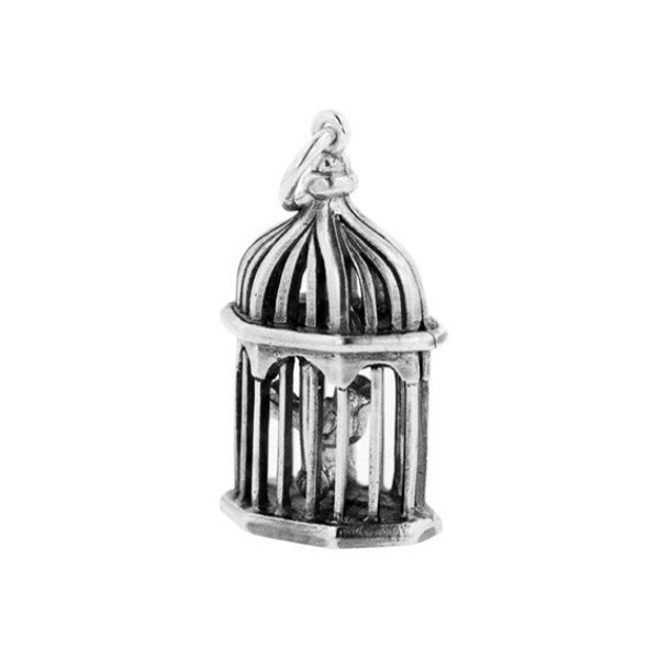 Silver Birdcage With Swinging Bird Charm