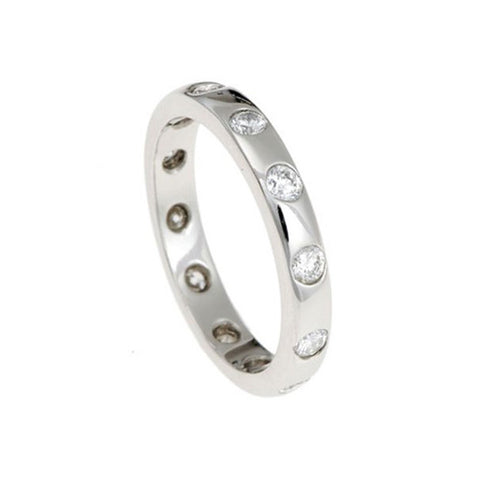 Blue Platinum Square Edge Eternity Ring