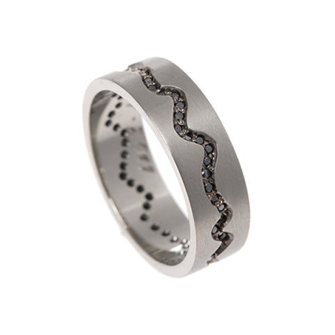Blitz 18ct White Gold 'Pulse' Ring with Black Diamonds