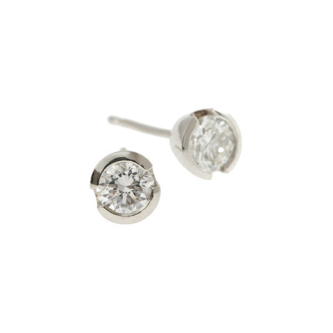 Blue 18ct White Gold 50pt Diamond Ear Studs