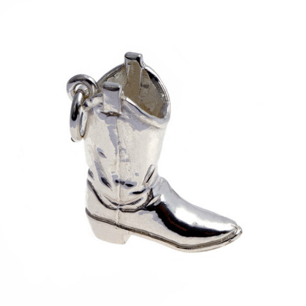 Silver Cowboy Boot Charm