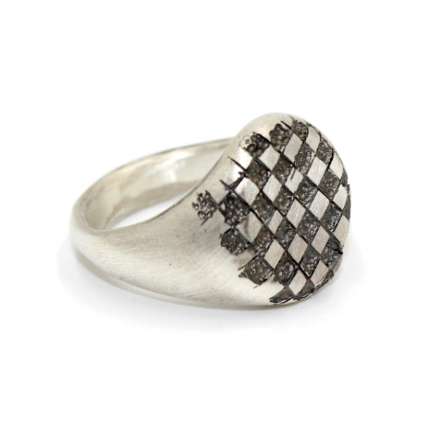Chequered Large Silver Signet Ring