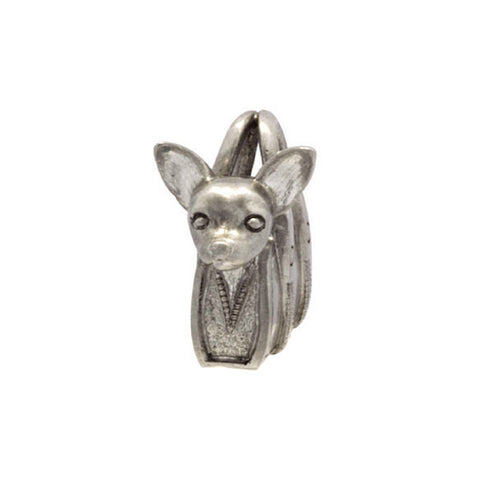 Silver Bruno the Chihuahua In Handbag Charm