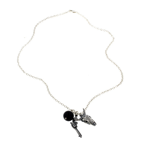 Silver Steer Skull & Pistol Charm Necklace