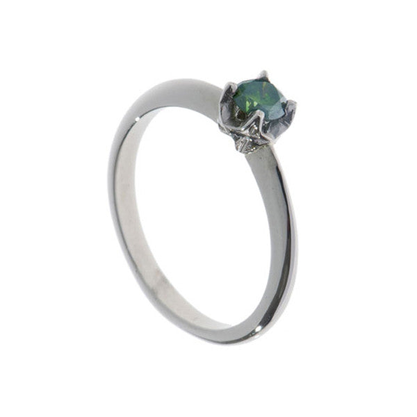 Collette 18ct White Gold .25pt Green Diamond Ring