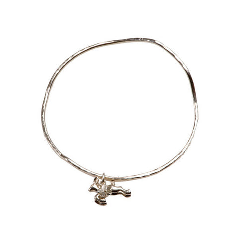 Woodland Creatures Silver Bangle With Tiny Deer And Flower Charms