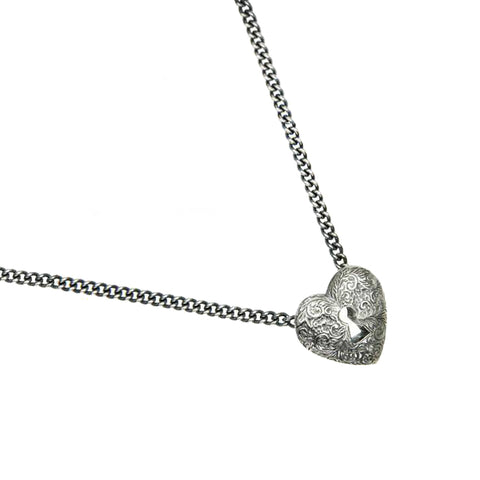 Silver Engraved Heart Lock Necklace