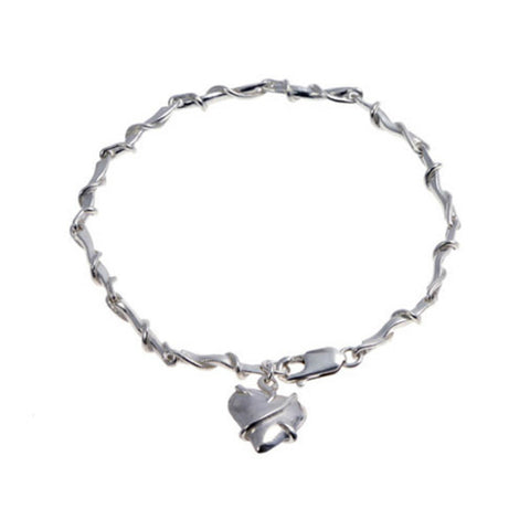 Entwine Silver Link Bracelet with Heart Charm