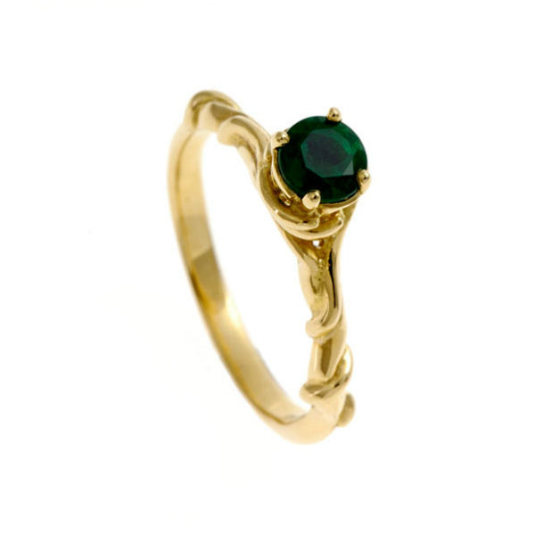 Entwine 18ct Yellow Gold Solitaire with .30pt Emerald