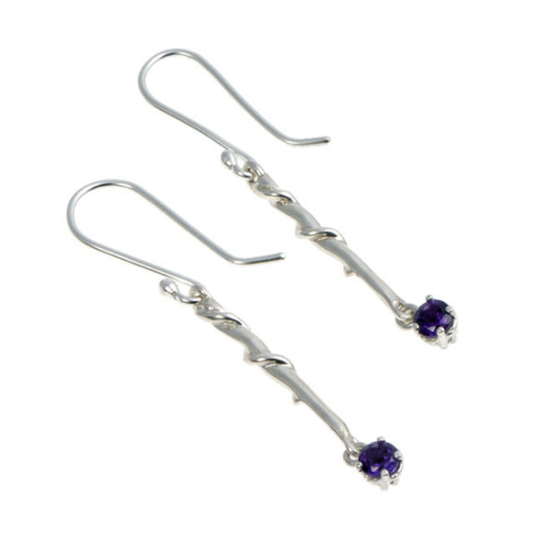 Entwine Silver Long Drops with Amethyst