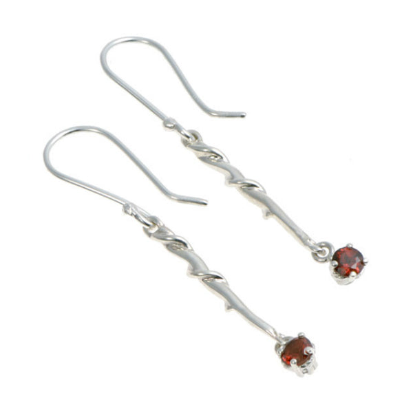 Entwine Silver Long Drops with Garnet