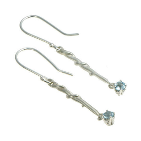 Entwine Silver Long Drops with Sky Blue Topaz
