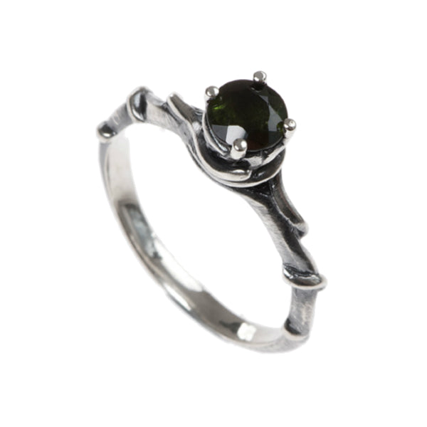 Entwine Silver Ring with Tourmaline