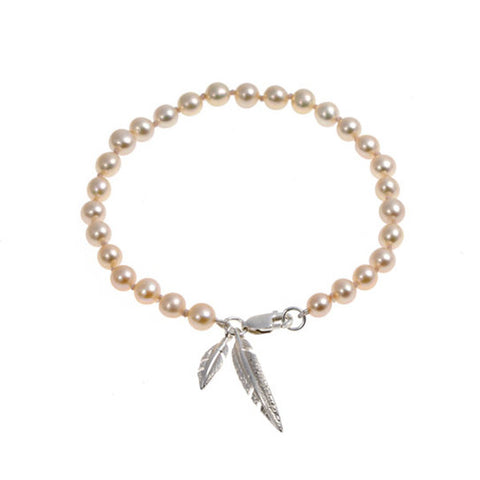 Feathers Silver And Salmon Freshwater Pearl Bracelet