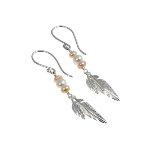 Feathers Silver Double Drops with Salmon Pearls