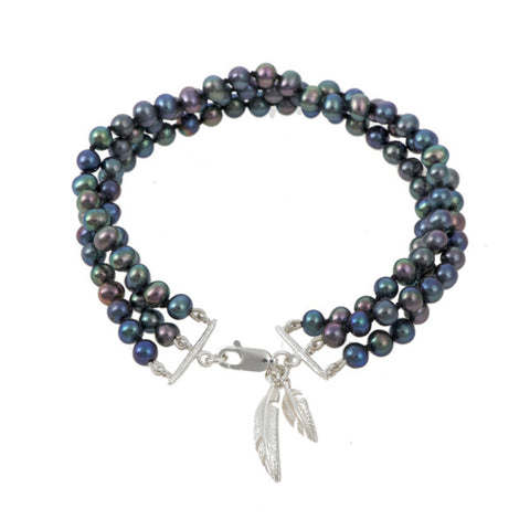 Feathers Silver Peacock Pearl Three Row Bracelet