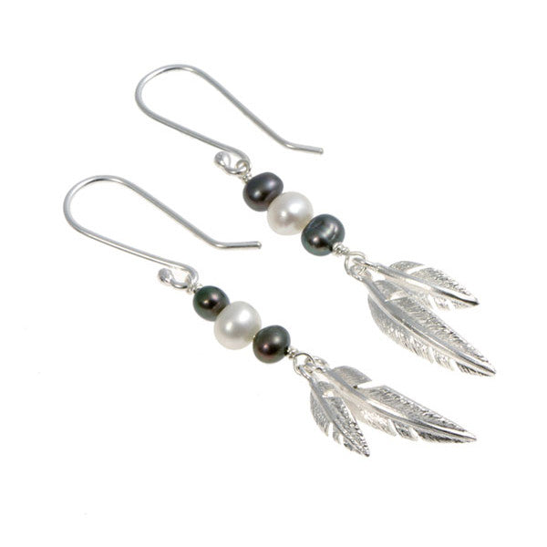Feathers Silver Double Drops With Peacock Pearls