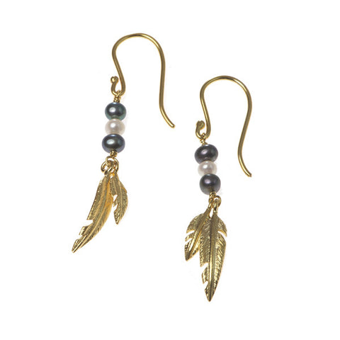 Feathers Gold Plated Double Drops with Peacock Pearls