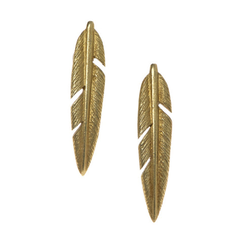 Feathers Silver Large Studs with Gold Plate