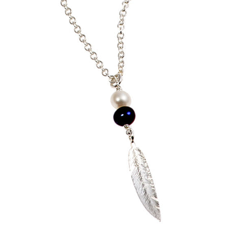 Feathers Silver Feather Peacock Pearl Necklace