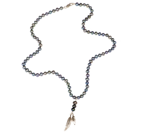 Feathers Peacock Pearl Drop Necklace
