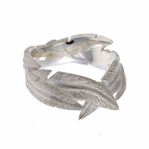 Feathers Silver Crossover Ring