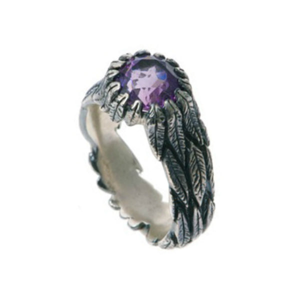 Feathers Silver Ring with Amethyst