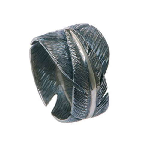 Feathers Silver Wide Ring