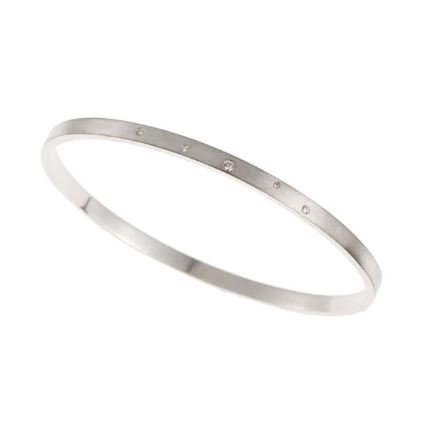 Flicker Silver Bangle With 5 White Diamonds