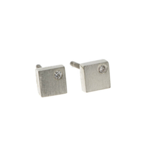 Flicker Silver Square Studs With 0.03pt Diamonds