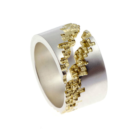 Luna Silver 14mm Diagonal Cut Ring with Gold Plating