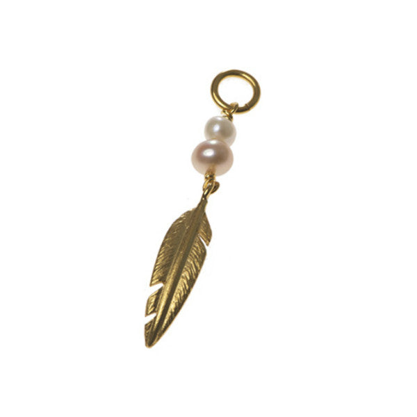 Silver Gold Plated Single Feather And Pearl Charm