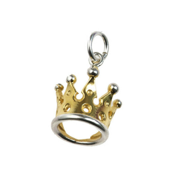 Silver Kings & Queens Tiara Charm with Gold Plate